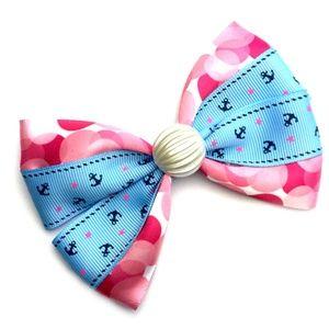 Nautical Anchors & Pearl Hair Bow